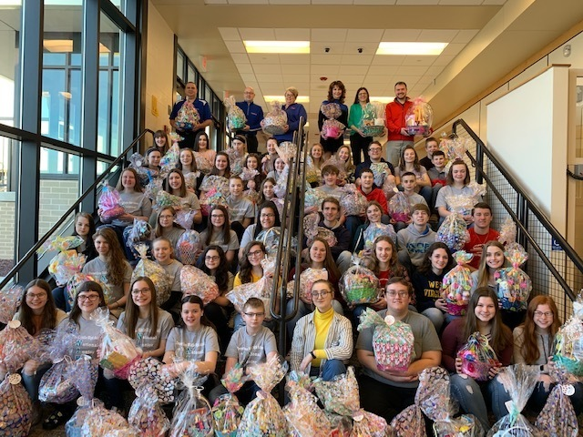 National Junior Honor Society and National Honor Society with their baskets for Eli