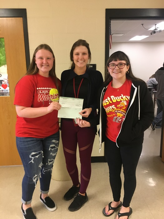 NJHS donating $100 to the Tom Waltman Memorial Weight Room Project