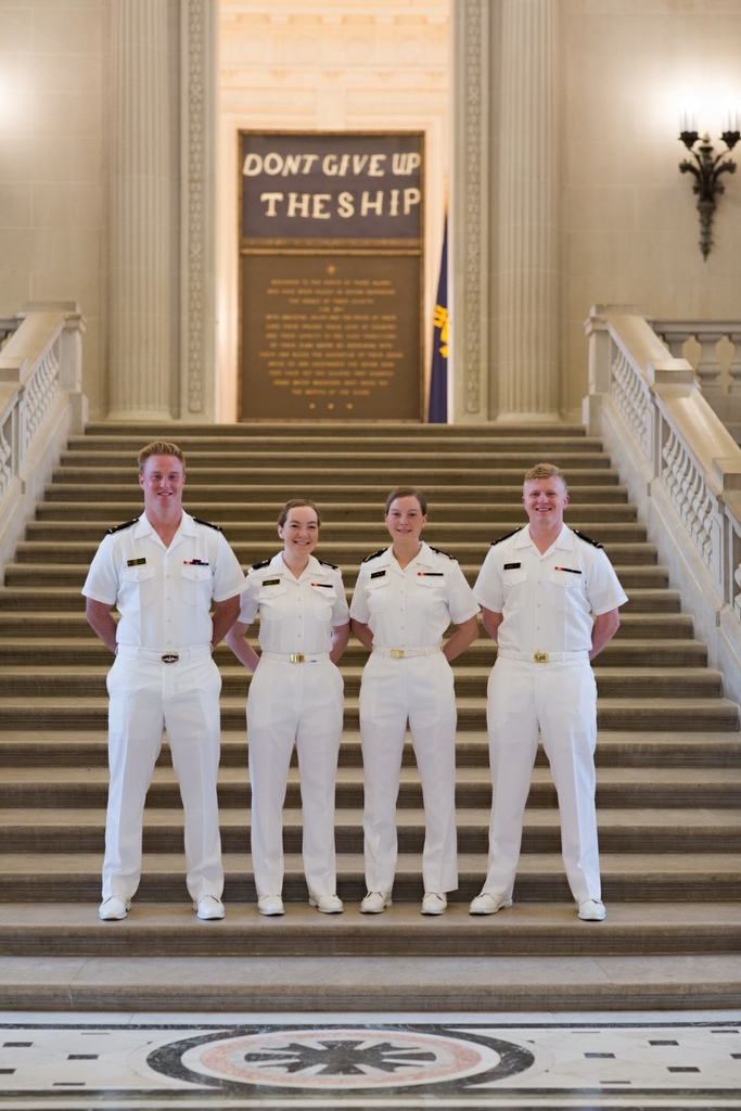 Everett graduates that attended the Naval Academy. Left to right:  Jubal Schmidt, Kestrel Kuhne, Laurel Kuhne, and Mitchel Kovel